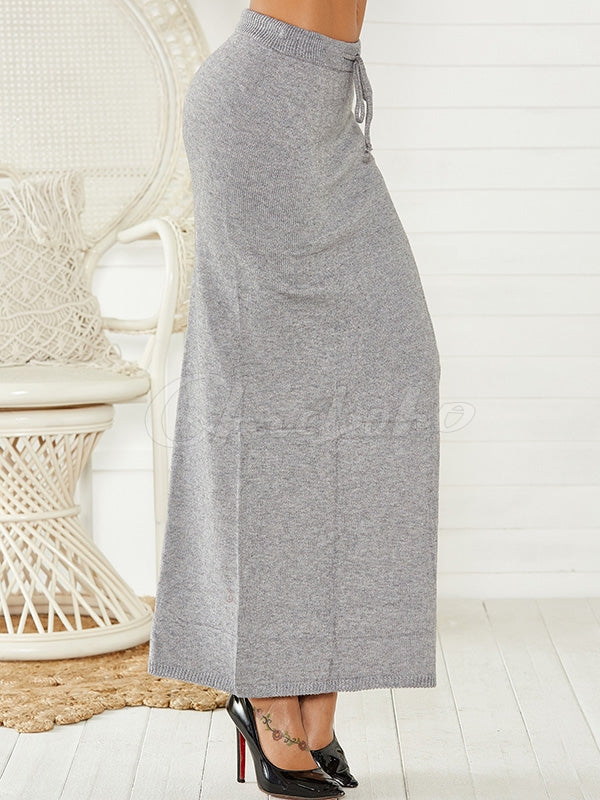 Solid Color Bandage Split Hip Skirt
