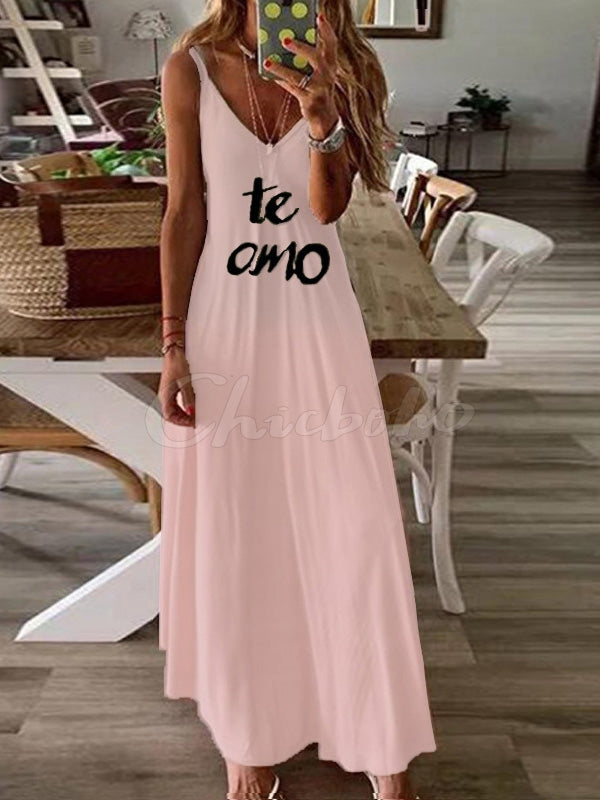 Letter Printed Hemline Spaghetti-neck Maxi Dress