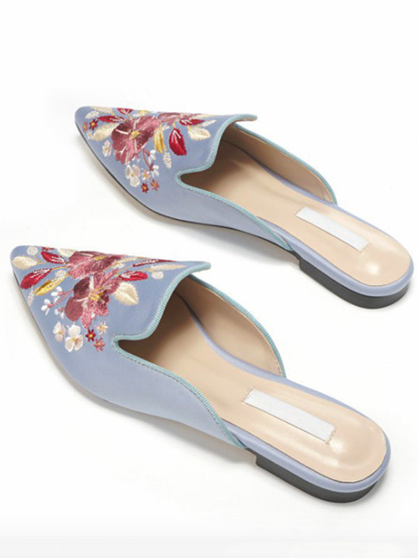 Pretty Embroidered Mules&Slides Shoes