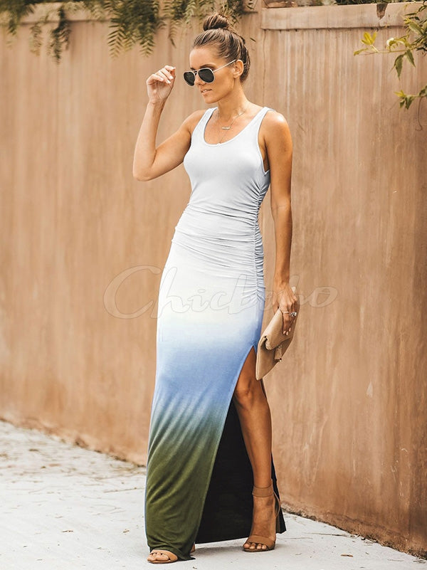 Simple Printed Gradient Maxi Dress