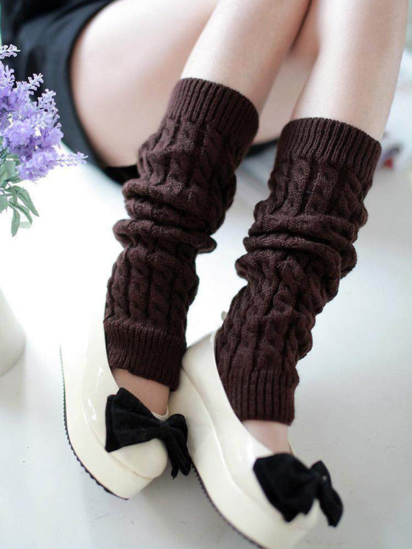 Solid Thick Knitting Leg Warmer Accessories