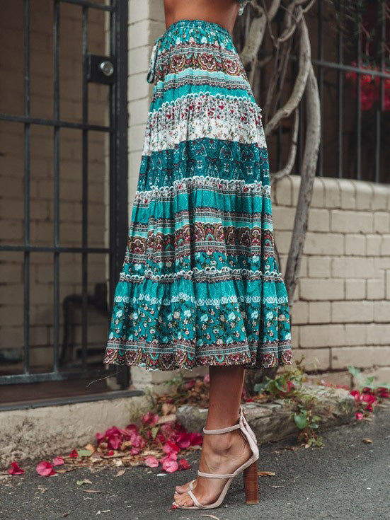 Printed Sleeveless Top And Skirts Suits
