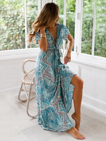 Pretty Chiffon Bohemia Floral 3/4 Sleeve V Neck Maxi Dress 01