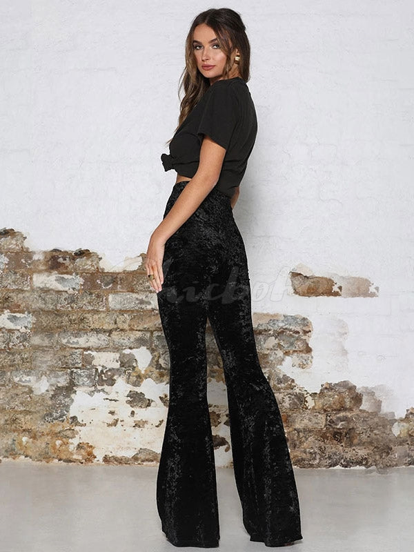 Casaul Empire Pleuche Wide Leg Pants