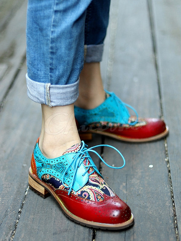 Vintage Ethnic Style Brock Fringed Cowhide Flats