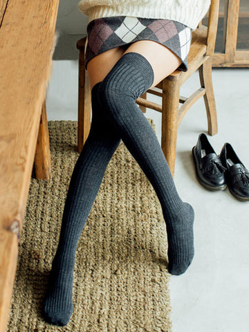 Fashion Knitting Over Knee-high Solid Color Stocking