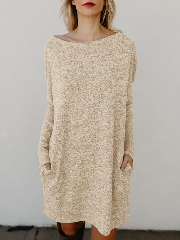 Round-neck Pockets Knitting Midi Dress