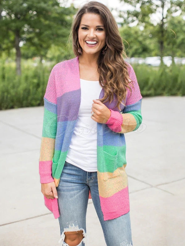 Rainbow Stitching Cardigan Sweater Coat