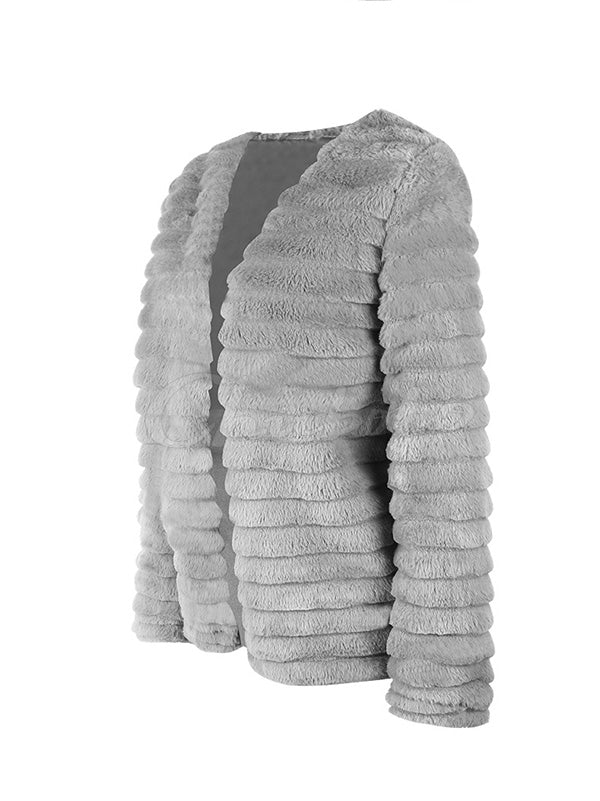 Imitation Rabbit Fur Stripes Coat