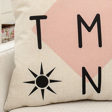 Letter Printed Pillow Case