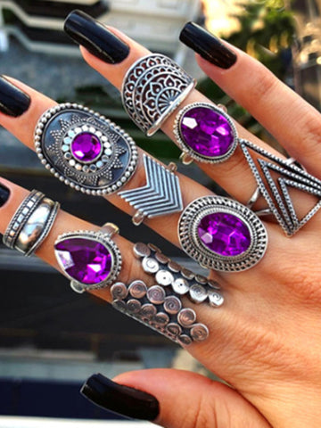 3 Sets 7pcs Vintage Carved Hollow Rings Accessories