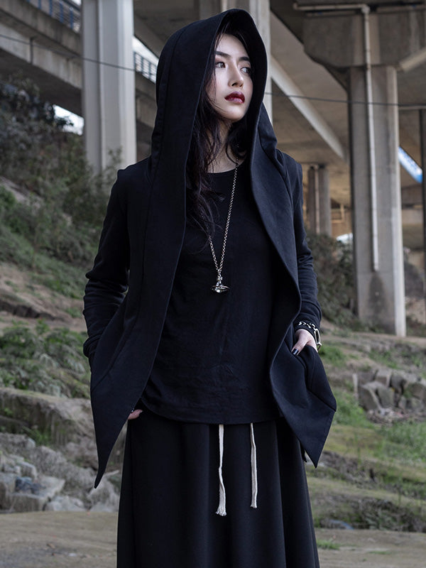 RO Simple Black Long Sleeves Outwears