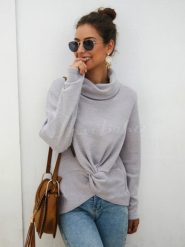 High-neck Hem Kink Knit Sweater