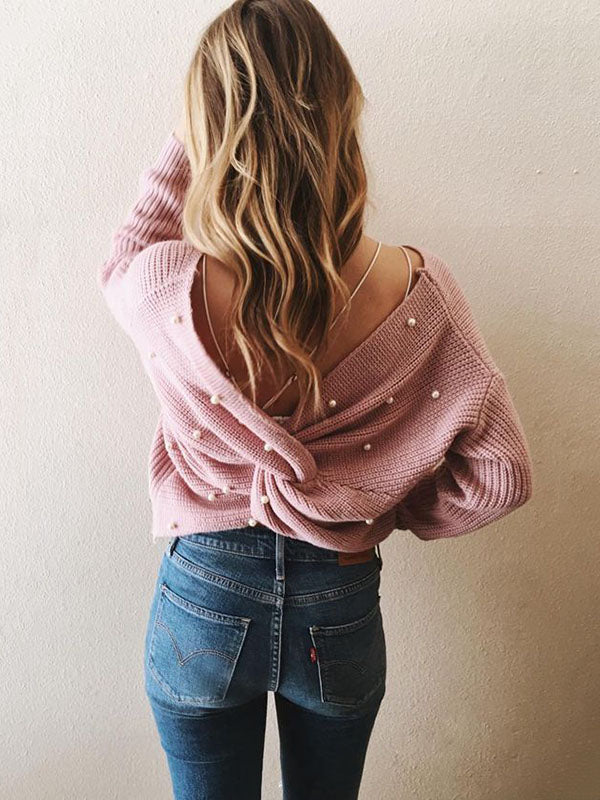 Solid Backless Bead Sweater Tops