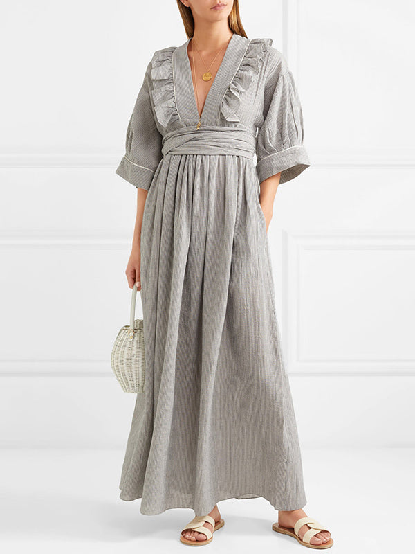 Pinstripe V-neck Half Sleeves Maxi Dress