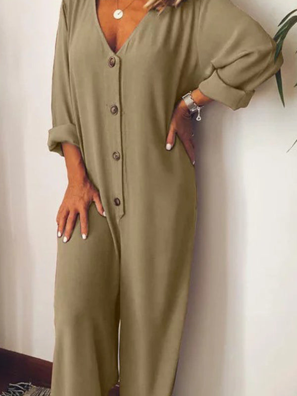 Button Long Sleeve Loose Jumpsuits