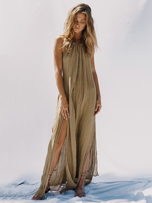 Ruffled Backless Split-side Halter-neck Maxi Dress