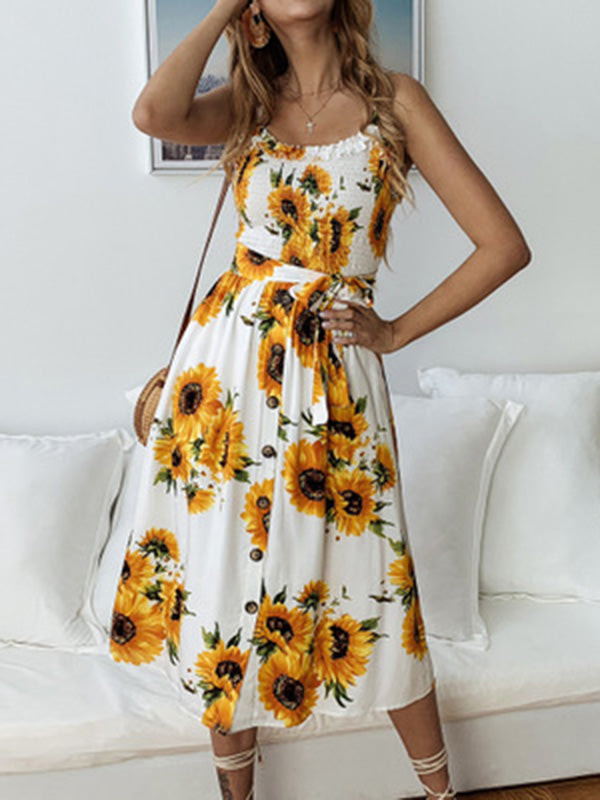 Sunflower Floral Spaghetti-neck Midi Dress