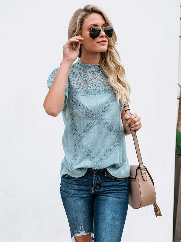 Lace Geometric Patchwork Top