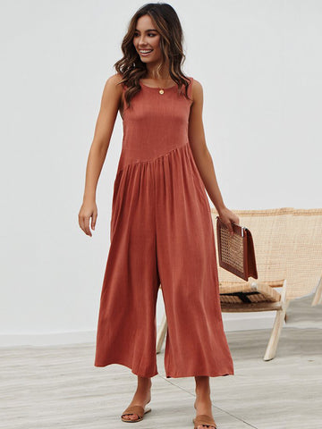 Sleeveless V-neck Linen Vest Tops