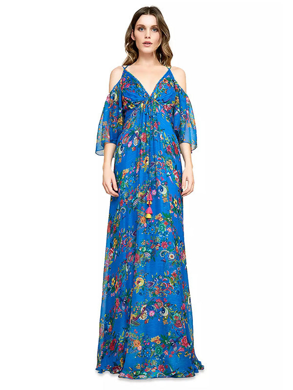 Ruffled V-neck Bohemia Maxi Dress