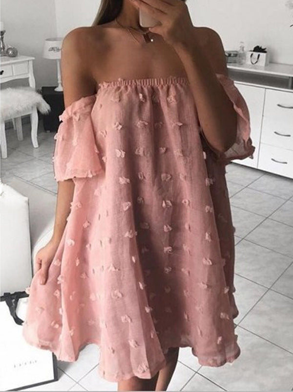 2 Colors Off-the-shoulder Mini Dress