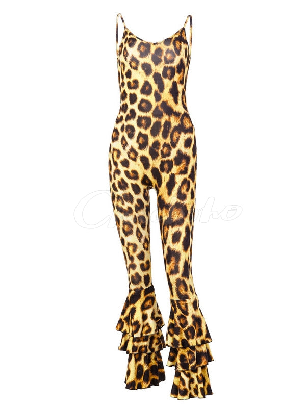 Leopard Spaghetti-neck Flared Jumpsuits
