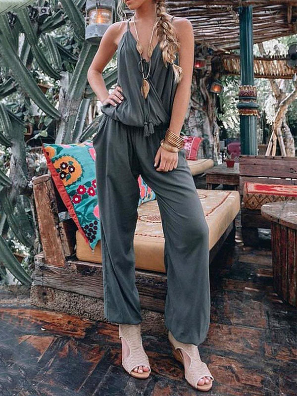 Solid Color Spaghetti-neck Waisted Jumpsuits