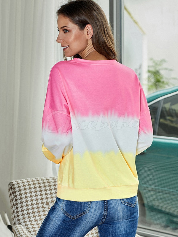 Loose Gradient Color Casual Sweatershirt