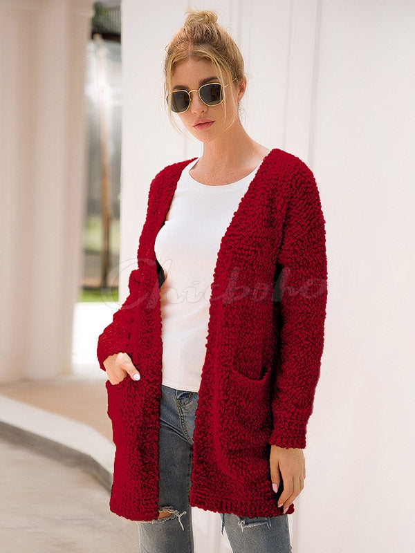 Solid Thicken Pocket Knitting Cardigan Sweater