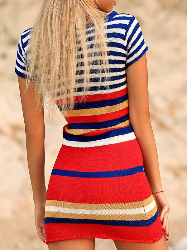 Multicolor Striped Knitting Mini Dress