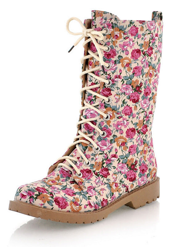 Fashion Ankle Floral Martin Low-heel Boots Shoes