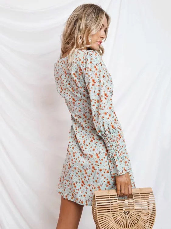 V-neck Floral Long Sleeves Button Front Midi Dress