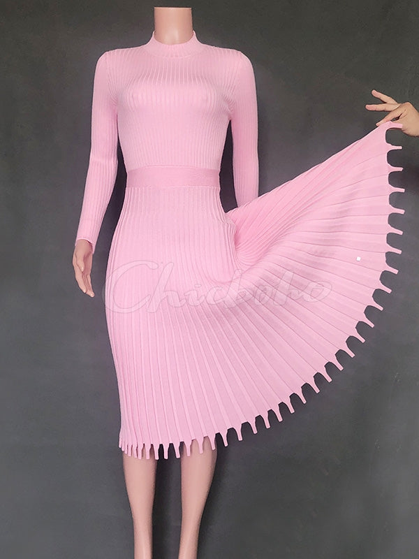 Solid Long-Sleeves Midi Dress