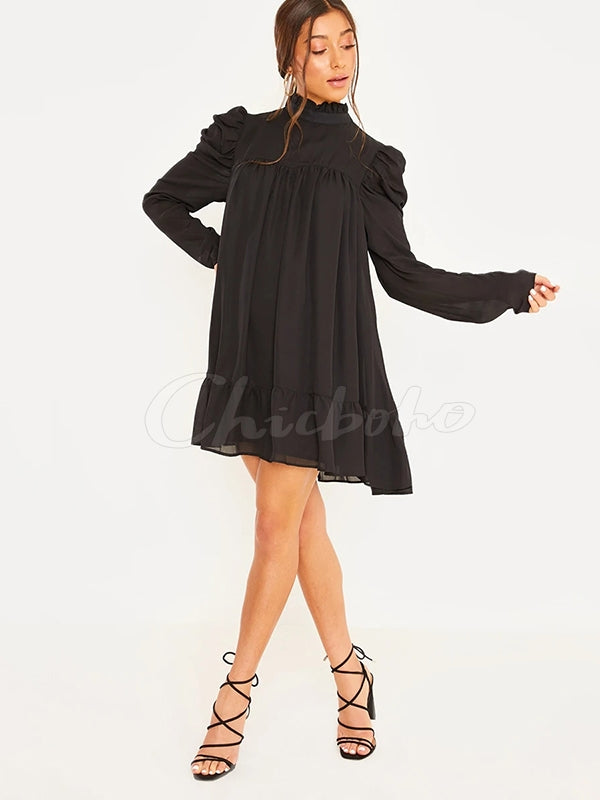 Solid Ruffled Stand Collar Mini Dress
