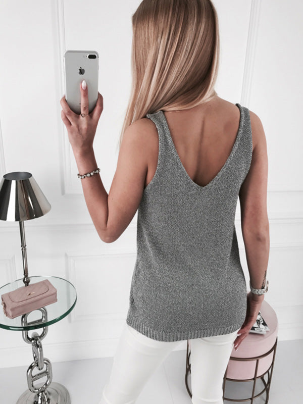 Simple Gray Knitting Vest Tops