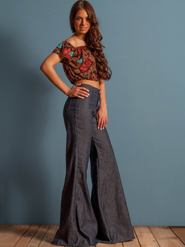 Retro Slim Fit Bell-bottom Jean Pants
