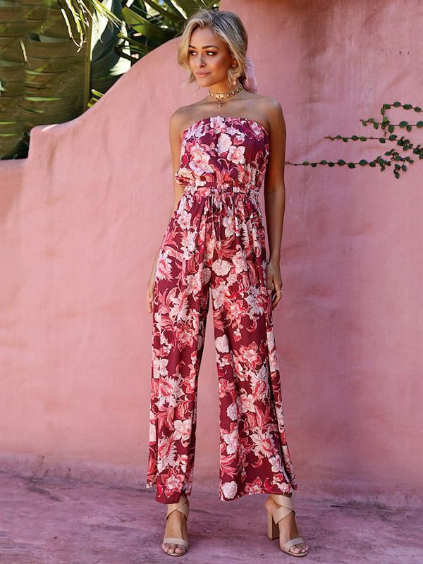 Beautiful Floral Off-the-shoulder Backless Long Jumpsuits