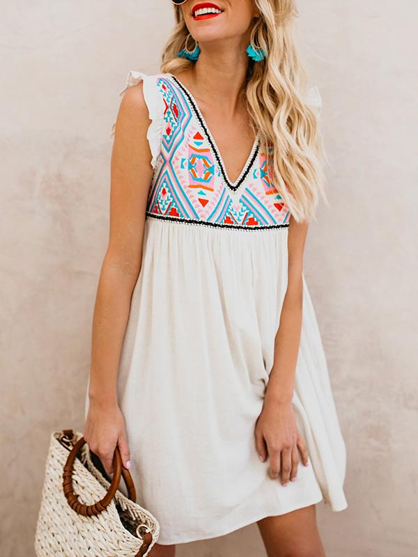 Floral Sleeveless V-neck V-back Midi Dress