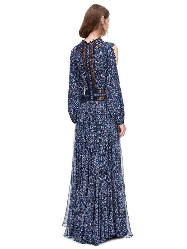 Blue Puff Sleeves Off-the-shoulder Maxi Dress