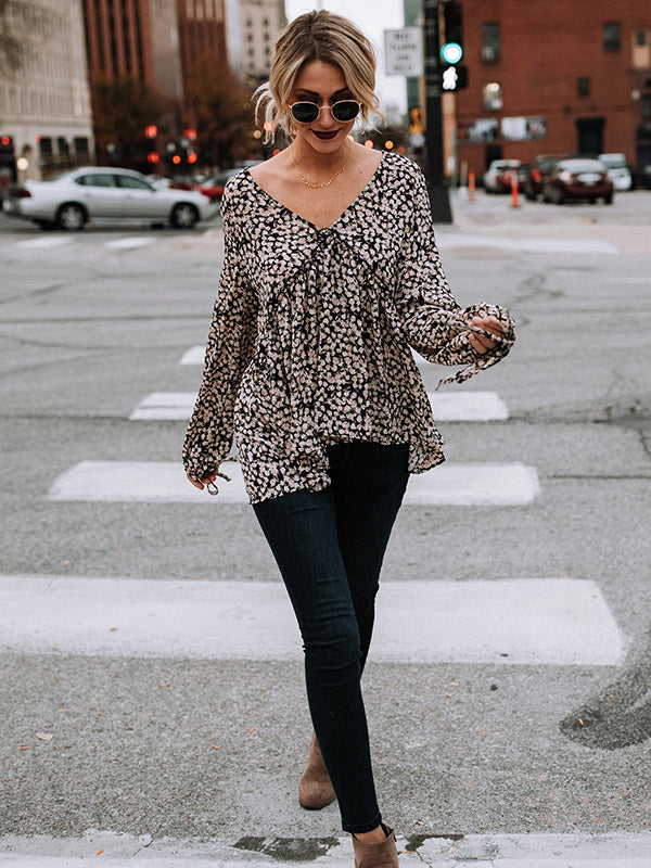 V-neck Chiffon Long Sleeves Floral Blouses&shirts Tops