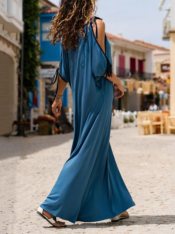 Blue V-neck Off-the-shoulder Loose Maxi Dresses