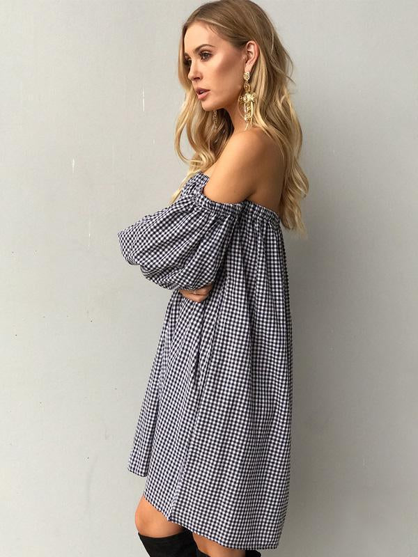 Bohemia Plaid Off Shoulder Long Sleeves Mini Dress