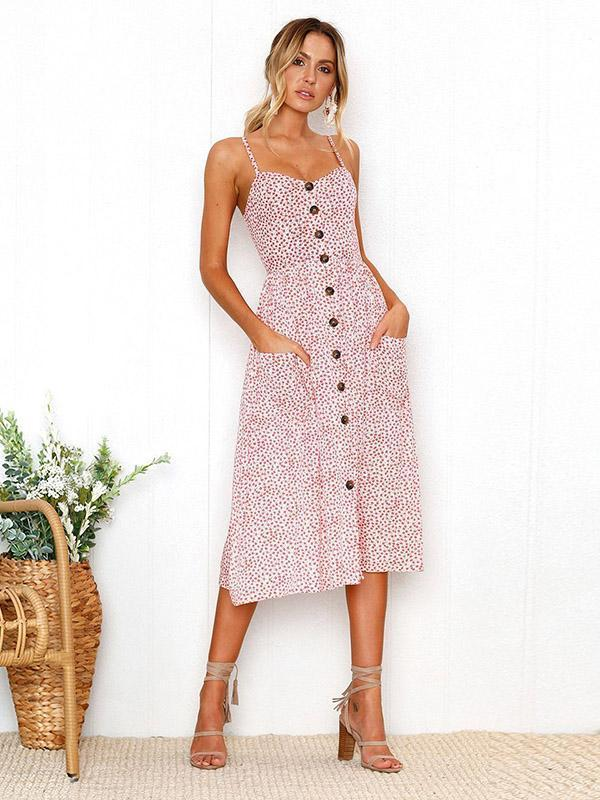 Backless Printed Condole Belt Dress
