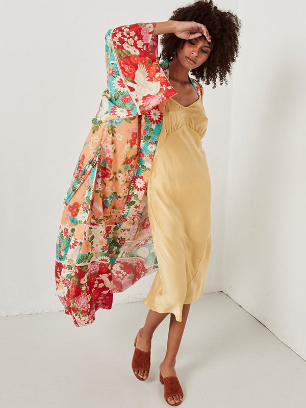 Bohemia Floral-Printed Long Sleeve Cover-Ups