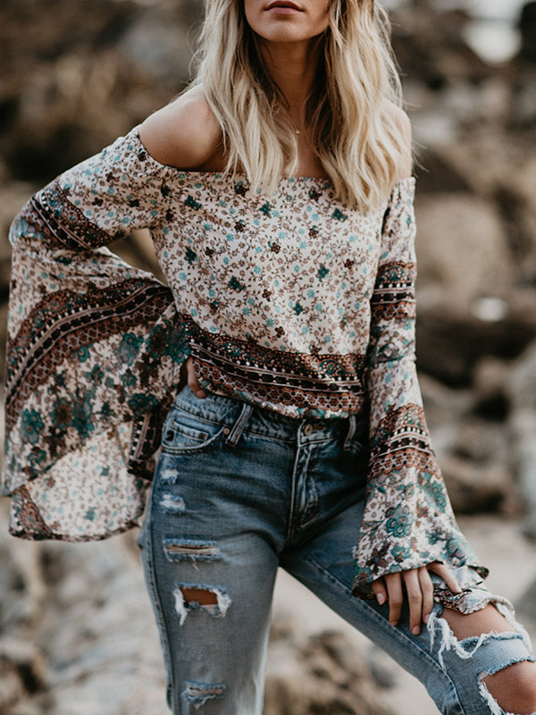 Off-the-shoulder Flared Sleeves Floral Loose Blouses&Shirts
