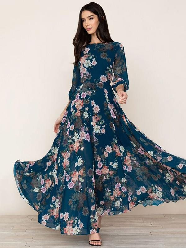 Floral 3/4 Sleeves Round-neck Maxi Dress
