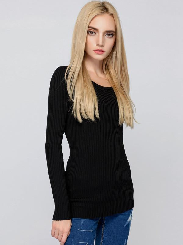 Beautiful Black Long Sleeve Round Neck Slim Fit Sweater Tops