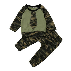 71e3a4f90 2PCS Newborn Infant Baby Boy Girl Clothes Cool Design Camouflage tops+pants  T shirt tracksuit