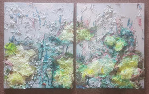 Blue and green abstract artwork two 16'x20' panels